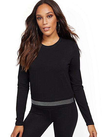 Black Sparkling-Accent Top - Soho Street - New York & Company