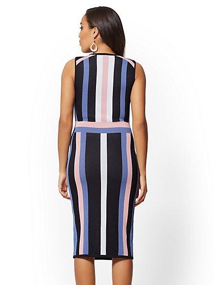 e9eaf66a2445a2 ... Black Stripe Sheath Sweater Dress - New York   Company
