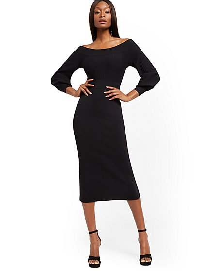 Black Sweater Sheath Dress - New York & Company