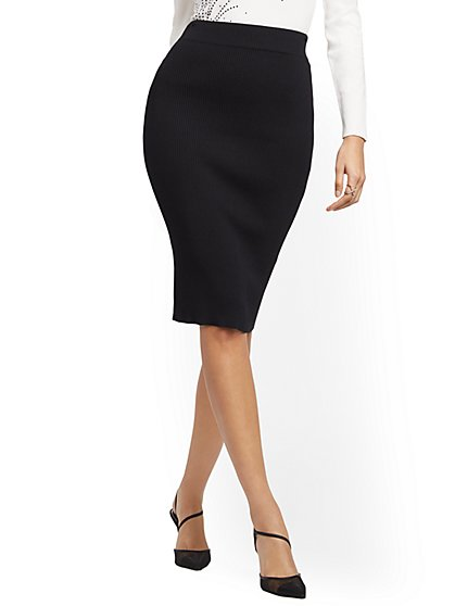 Black Sweater Skirt - 7th Avenue - New York & Company