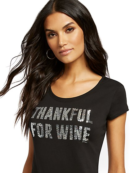 "Black ""Thankful for Wine"" Graphic Tee - New York & Company"