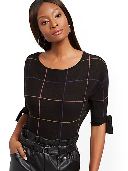 Black Tie-Cuff Dolman Sweater - New York & Company