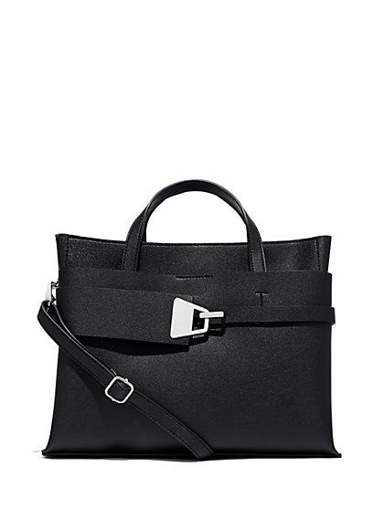 Black Top Handle Tote Bag New York Company