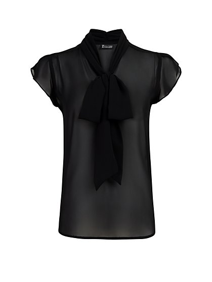 Black Tulip-Sleeve Bow Blouse - 7th Avenue - New York & Company