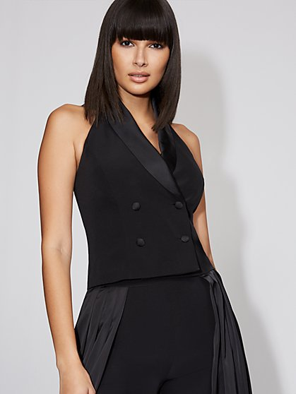 Black Tuxedo Halter Vest - Gabrielle Union Collection - New York & Company