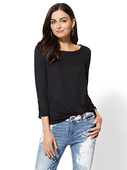 Black Twist-Front Hacci Knit Top - New York & Company