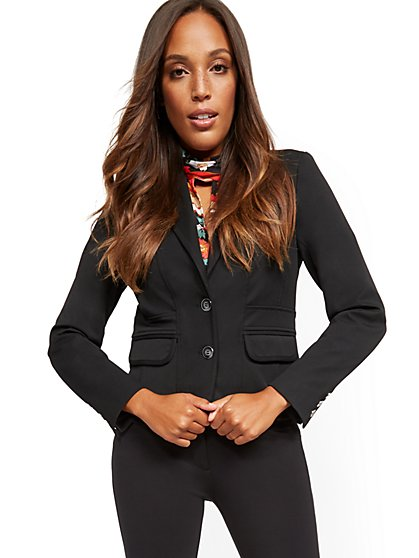 0150666b43f55 Black Two-Button Jacket - Superstretch - 7th Avenue - New York & Company ...