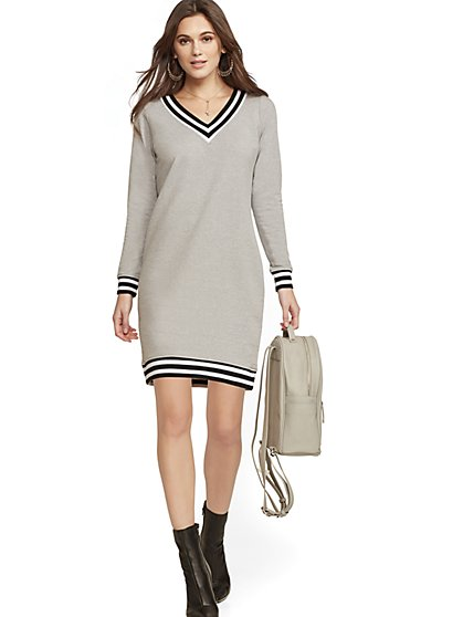 Black V-Neck Sweatshirt Dress - Soho Street - New York & Company