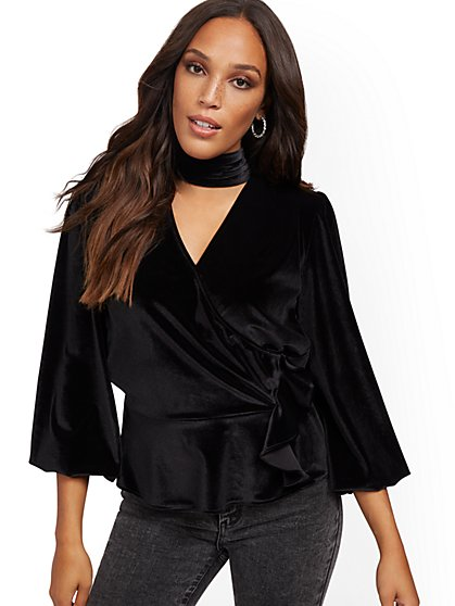 Black Velour Mock-Neck Wrap Top - New York & Company
