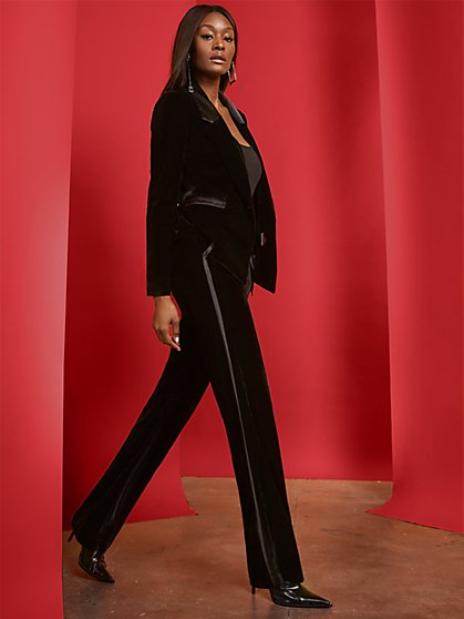 Black Velvet Tuxedo Pant - 7th Avenue - New York & Company