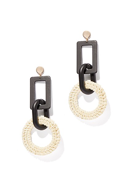 Black & White Basket-Weave Drop Earring - New York & Company