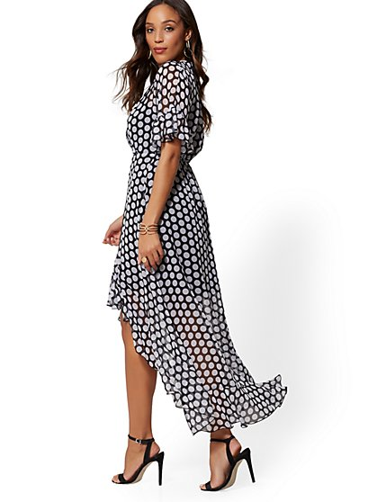 Black & White Dot Hi-Lo Wrap Dress - New York & Company