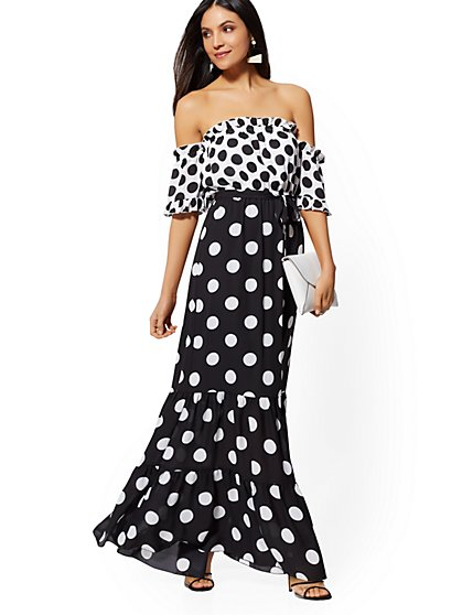 Black & White Dot Print Off-the-Shoulder Maxi Dress - New York & Company
