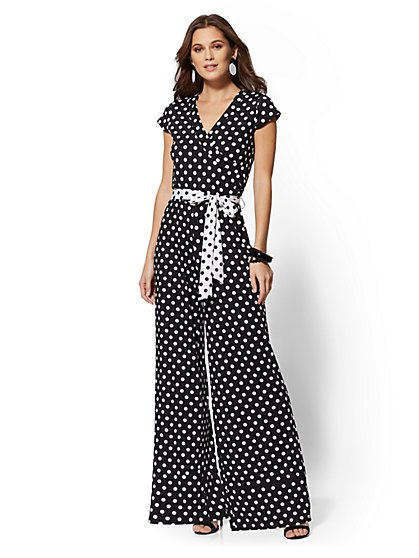 Black & White Dot-Print Wrap Jumpsuit - New York & Company