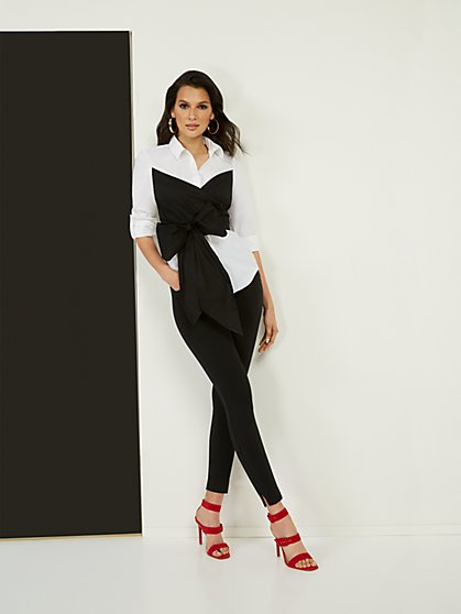 Black & White Drama Wrap Top - New York & Company