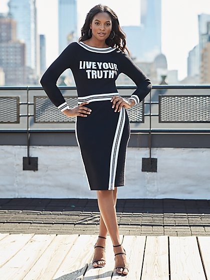 "Black & White ""Live Your Truth"" Sweater - Gabrielle Union Collection - New York & Company"