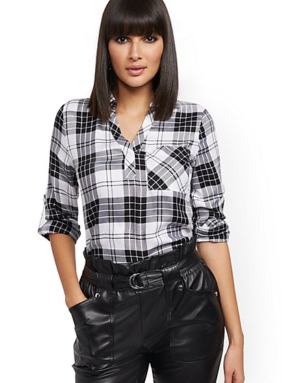 Black & White Plaid Button-Back Shirt - Soho Soft Blouse - New York & Company