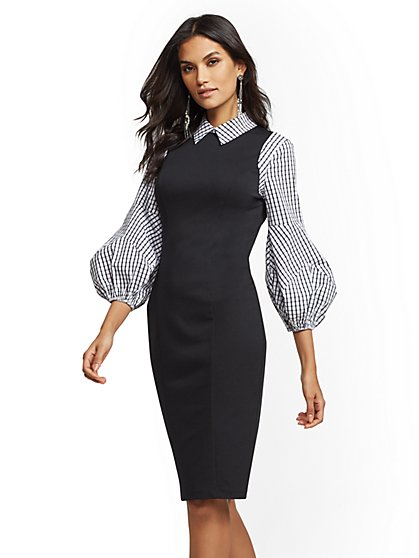 Black & White Plaid Twofer Sheath Dress - New York & Company