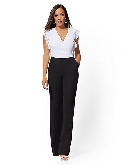 Black & White Ruffled Jumpsuit - New York & Company
