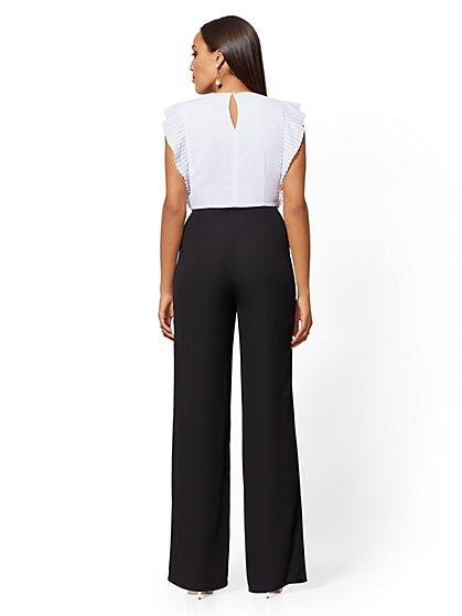 17ca273e4796 ... Black   White Ruffled Jumpsuit - New York   Company