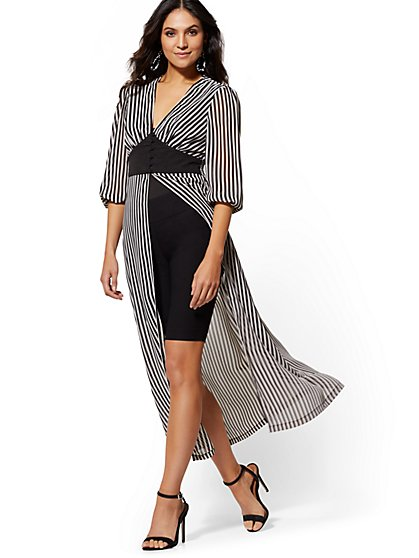 Black & White Stripe Corset Maxi Blouse - New York & Company