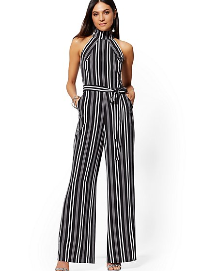 Black & White Stripe Halter Jumpsuit - New York & Company