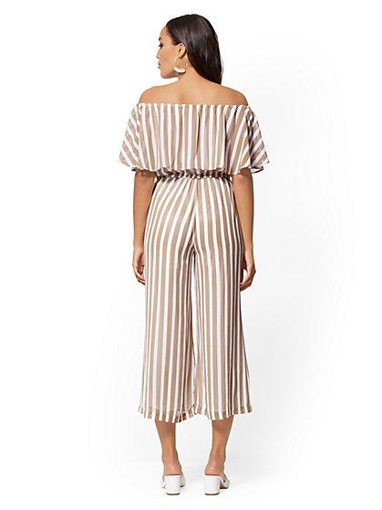eefa29eaa4f ... Black   White Stripe Off-The-Shoulder Jumpsuit - New York   Company
