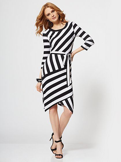 Black & White Stripe Sheath Dress - New York & Company