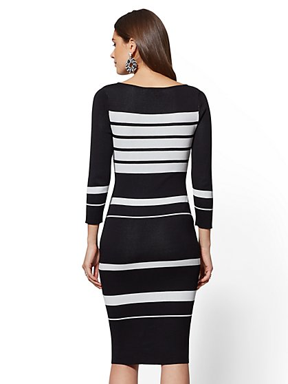 d74bbd9ae8a ... Black   White Stripe Sweater Dress - 7th Avenue - New York   Company