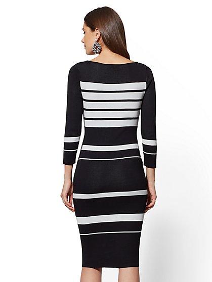 0fdb0d0fe3d9 ... Company Black   White Stripe Sweater Dress - 7th Avenue - New York ...