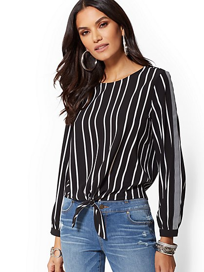 Black & White Stripe Tie-Front Blouse - New York & Company