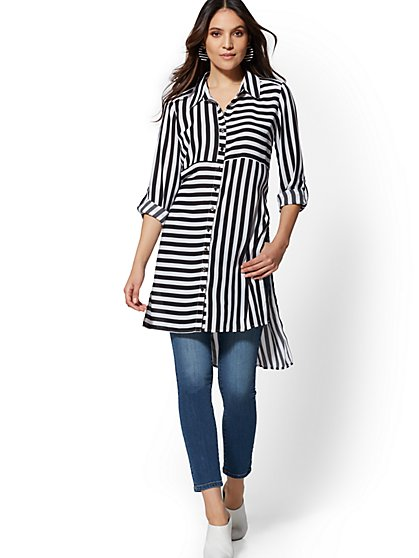 Black & White Stripe Tunic Shirt - New York & Company