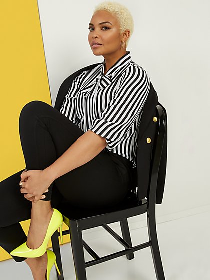 Black & White Striped Bow Blouse - New York & Company