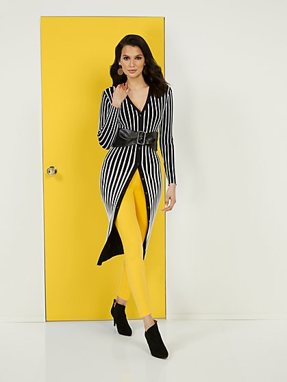 Black & White Striped Duster - New York & Company