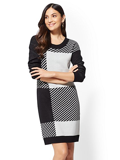 Black & White Sweater Dress - New York & Company