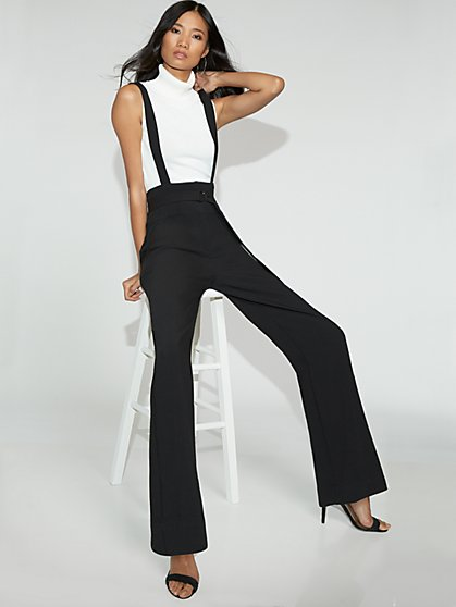 Black Wide-Leg Suspender Pant - Gabrielle Union Collection - New York & Company