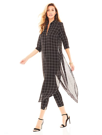 Black Windowpane-Check Hi-Lo Tunic Shirt - New York & Company