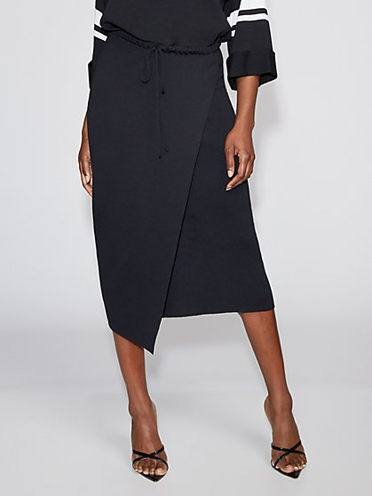 Black Wrap Sweater Skirt - Gabrielle Union Collection - New York & Company