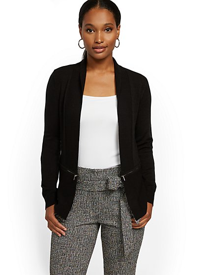 Black Zip-Accent Cardigan - 7th Avenue - New York & Company