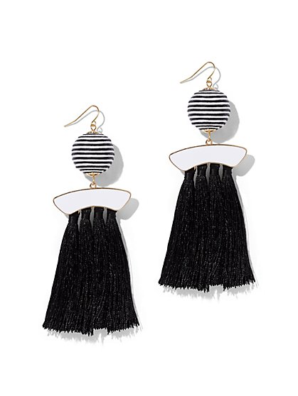 Black-and-White Tassel Drop Earring - New York & Company