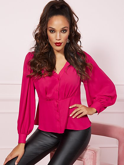 Blouson-Sleeve Peplum Blouse - New York & Company