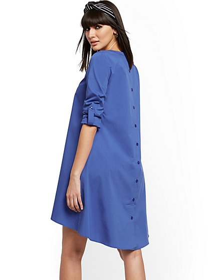Blue Button-Back Poplin Shift Hi-Lo Dress - New York & Company
