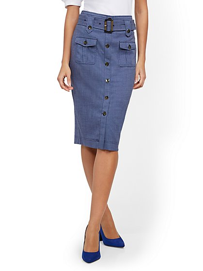 Blue Cargo-Pocket Pencil Skirt - 7th Avenue - New York & Company