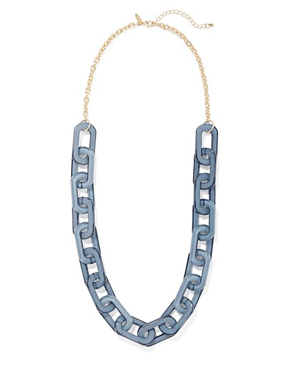 Blue Chain-Link Necklace - New York & Company