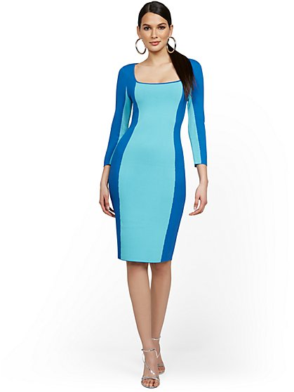 Blue Colorblock Sweater Dress - New York & Company