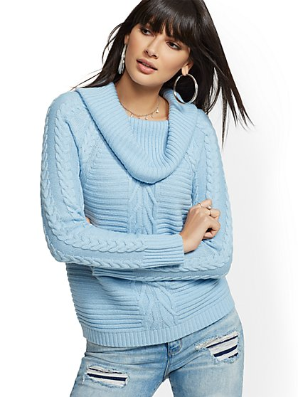 Blue Cowl-Neck Cable-Knit Sweater - New York & Company