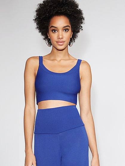 Blue Crop-Top Sweater - Gabrielle Union Collection - New York & Company