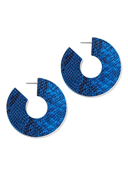 Blue Embossed Hoop Earring - New York & Company
