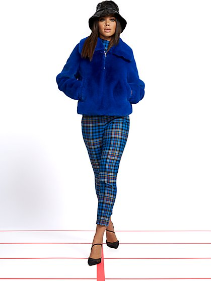 Blue Faux-Fur Jacket - New York & Company