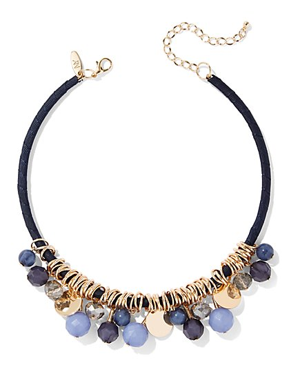 Blue Faux-Stone Collar Necklace - New York & Company